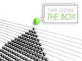 думать за пределами коробки бизнес-концепция — Стоковое фото