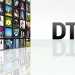 DTTV technology video wall LCD TV panels — Stock Photo