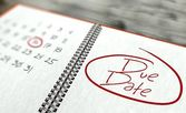 Due date important day, calendar concept — Stock Photo