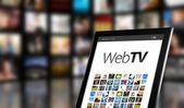 Web TV concept, tablet with many icons — Stock Photo