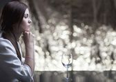 Lonely unhappy woman waiting for date — Foto Stock