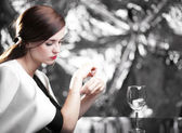 Elegant glamour woman waiting for date — Stock Photo