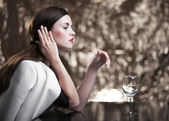 Glamour woman alone in luxury restaurant — Foto Stock