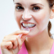 Teeth whitening, woman with tooth tray — Stock Photo #51644263