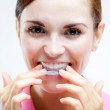 Teeth whitening, woman with tooth tray — Stock Photo #51644305
