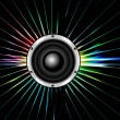 Royalty-Free Stock Vektorfiler: Abstract Speaker colorful line with swirl Glowing Lights