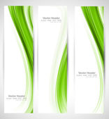 Abstract vertical header green wave vector — Vector de stock