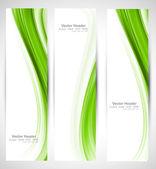 Abstract vertical header green wave vector — Stock Vector