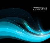 Ilustração em vetor onda azul brilhante preto abstrato colorfull — Vetor de Stock