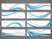 Abstract blue colorful shiny line header wave set vector — Stockvector