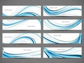 Abstracte blauwe kleurrijke glanzende lijn koptekst golf instellen vector — Stockvector