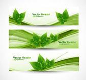 Abstract header natural eco green lives wave vector — Stock Vector
