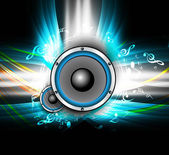 Abstract Speakers bright background colorful wave music notes ve — Stock Vector