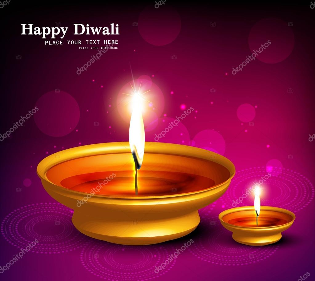 Abstract beautiful illuminating Diya background festival hindu Diwali vector  — Stock Vector #12846267