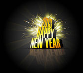 2013 Happy new year reflection golden celebration colorful backg — Stock Vector