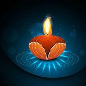 Happy diwali diya celebration shiny colorful hindu festival vec — Stock Vector