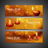 Lyckliga diwali snygga ljusa färgglada uppsättning headers vektor — Stockvektor