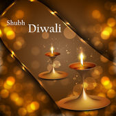 Happy diwali diya celebration shiny colorful circle background — Stock vektor