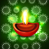 Beautiful artistic vector diwali diya green colorful background — Stock Vector