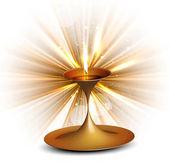 Happy diwali colorful swirl rays diya stylish wave vector — Stock Vector