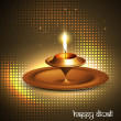 Happy diwali beautiful glowing diya halftone vector design — Stock Vector