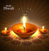 Shiny diwali diya colorful background vector — Stock Vector