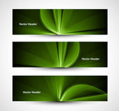 Abstract bright rays colorful green header wave set vector — Stock Vector