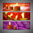 Happy diwali stylish bright colorful set of header background ve - Stock Vector