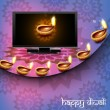 Beautiful happy diwali led tv screen celebration reflection colo — Stock Vector #13952944