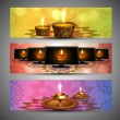 Happy diwali stylish bright colorful set of header background - Stock Vector