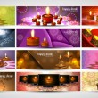 Happy diwali stylish bright colorful set of headers collection v — Stock Vector