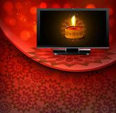 Beautiful happy diwali led tv screen celebration red colorful wa — Stock Vector