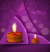 Happy diwali illuminating colorful diya stylish wave design — Stock Vector
