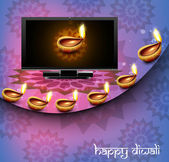Beautiful happy diwali led tv screen celebration reflection colo — Stock Vector
