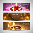 Happy diwali stylish bright colorful set of headers background — ベクター素材ストック