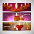 Happy diwali bright colorful set of headers vector design — ベクター素材ストック