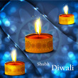 happy diwali diya celebration shiny blue colorful background vec — Stock Vector
