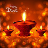 Happy diwali diya hindu festival vector red shiny background — Stock Vector
