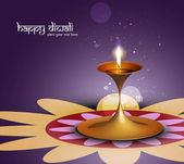 Happy diwali colorful beautiful illuminating diya background — Stock Vector