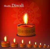 Beautiful happy diwali diya bright colorful background illustrat — Stock Vector