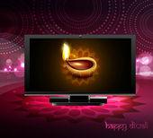 Beautiful happy diwali led tv screen celebration colorful design — 图库矢量图片