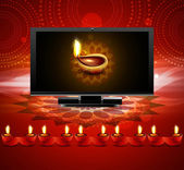 Happy diwali beautiful led tv screen celebration red colorful ba — Stock Vector