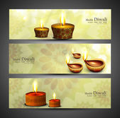 Happy diwali stylish colorful set of headers design vector — Stock Vector