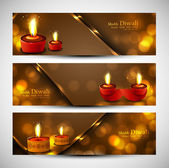 Happy diwali stylish set of headers colorful background vector — Stock Vector