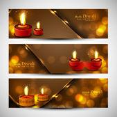 Feliz diwali elegante conjunto de vector de colores de fondo de cabeceras — Vector de stock