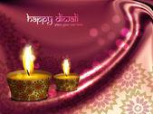 Happy diwali beautiful illuminating diya wave background — Stock Vector