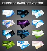 様々 な 12 のビジネス カードのセットの明るいコレクション ベクトルを抽象化します。 — ストックベクタ