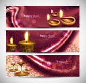 Happy diwali stylish colorful set of headers background — Stock Vector