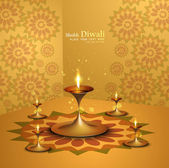 Happy diwali beautiful illuminating Diya vector background — Stock Vector