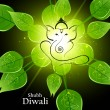 Stock Vector: Beautiful artistic bright green lives colorful Hindu Lord Ganesh
